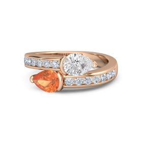 Pear Fire Opal 14K Rose Gold Ring with White Sapphire & Diamond