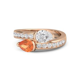 Pear Fire Opal 14K Rose Gold Ring with White Sapphire