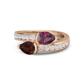 Pear Red Garnet 14K Rose Gold Ring with Rhodolite Garnet and White Sapphire