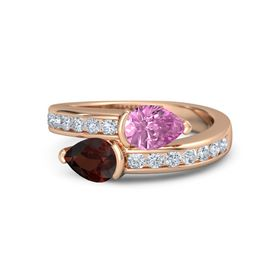 Pear Red Garnet 14K Rose Gold Ring with Pink Sapphire & Diamond