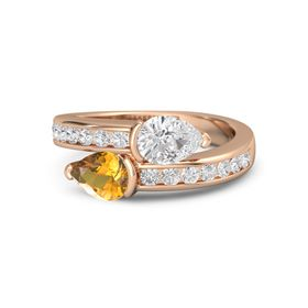 Pear Citrine 14K Rose Gold Ring with White Sapphire
