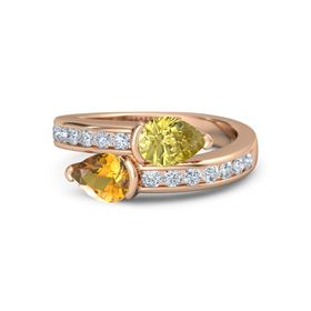 Pear Citrine 14K Rose Gold Ring with Yellow Sapphire & Diamond