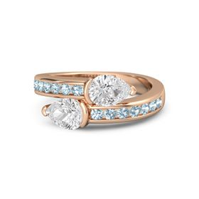 Pear White Sapphire 14K Rose Gold Ring with White Sapphire and Aquamarine