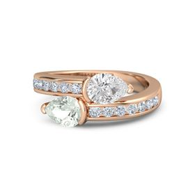 Pear Green Amethyst 14K Rose Gold Ring with White Sapphire and Diamond