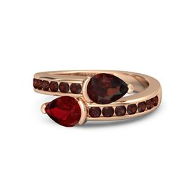 Pear Ruby 14K Rose Gold Ring with Red Garnet