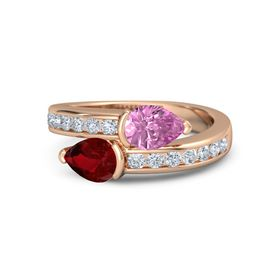 Pear Ruby 14K Rose Gold Ring with Pink Sapphire and Diamond