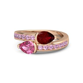 Pear Pink Tourmaline 14K Rose Gold Ring with Ruby and Pink Tourmaline
