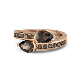 Pear Smoky Quartz 14K Rose Gold Ring with Smoky Quartz