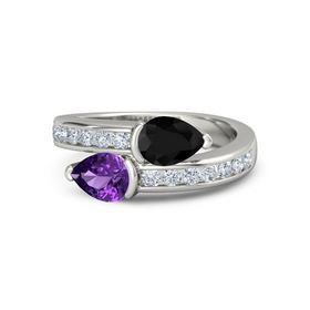 Pear Amethyst 14K White Gold Ring with Black Onyx and Diamond