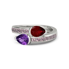 Pear Amethyst 14K White Gold Ring with Ruby and Rhodolite Garnet