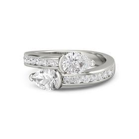 Pear Rock Crystal 14K White Gold Ring with White Sapphire