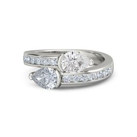 Pear Diamond 14K White Gold Ring with White Sapphire and Diamond