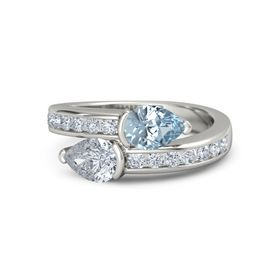 Pear Diamond 14K White Gold Ring with Aquamarine and Diamond