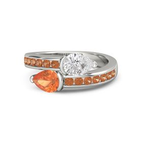 Pear Fire Opal 14K White Gold Ring with White Sapphire and Fire Opal