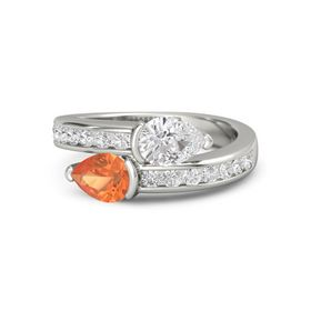Pear Fire Opal 14K White Gold Ring with White Sapphire