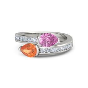 Pear Fire Opal 14K White Gold Ring with Pink Sapphire and Diamond
