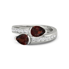 Pear Red Garnet 14K White Gold Ring with Red Garnet and White Sapphire