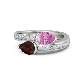 Pear Red Garnet 14K White Gold Ring with Pink Sapphire and Diamond