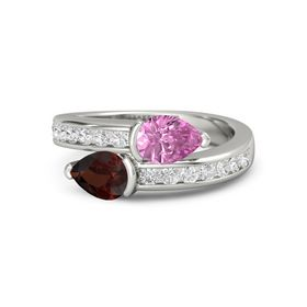 Pear Red Garnet 14K White Gold Ring with Pink Sapphire and White Sapphire