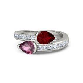 Pear Rhodolite Garnet 14K White Gold Ring with Ruby and Diamond