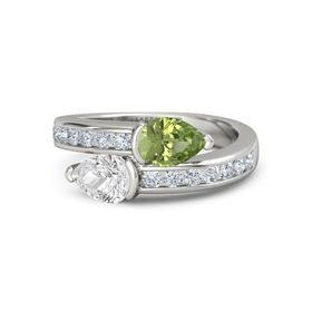 Pear White Sapphire 14K White Gold Ring with Peridot and Diamond