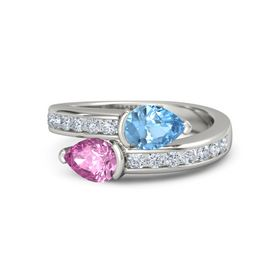 Pear Pink Sapphire 14K White Gold Ring with Blue Topaz and Diamond