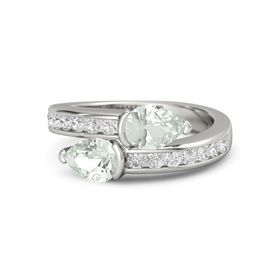 Pear Green Amethyst 14K White Gold Ring with Green Amethyst & White Sapphire