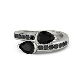 Pear Black Onyx 14K White Gold Ring with Black Onyx and Black Diamond