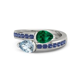 Pear Aquamarine 14K White Gold Ring with Emerald and Blue Sapphire