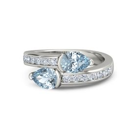 Pear Aquamarine 14K White Gold Ring with Aquamarine & Diamond