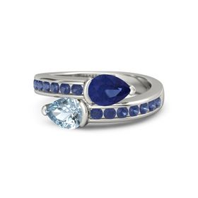 Pear Aquamarine 14K White Gold Ring with Blue Sapphire