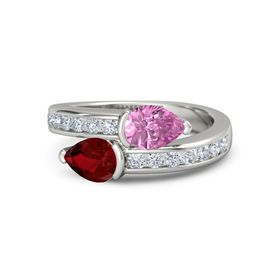 Pear Ruby 14K White Gold Ring with Pink Sapphire & Diamond
