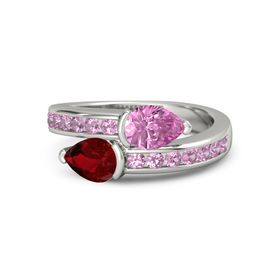 Pear Ruby 14K White Gold Ring with Pink Sapphire and Pink Tourmaline