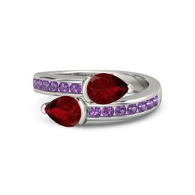 Pear Ruby 14K White Gold Ring with Ruby and Amethyst