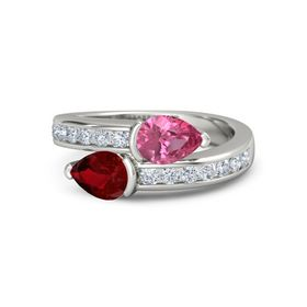 Pear Ruby 14K White Gold Ring with Pink Tourmaline and Diamond