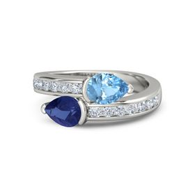 Pear Sapphire 14K White Gold Ring with Blue Topaz & Diamond