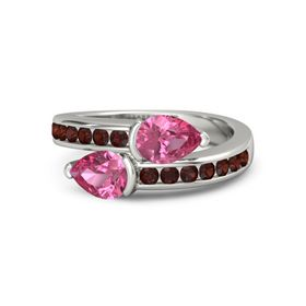 Pear Pink Tourmaline 14K White Gold Ring with Pink Tourmaline and Red Garnet