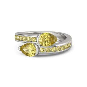 Pear Yellow Sapphire 14K White Gold Ring with Yellow Sapphire