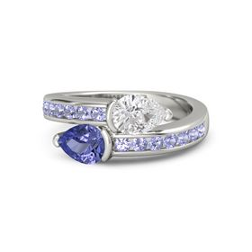 Pear Tanzanite 14K White Gold Ring with White Sapphire and Tanzanite