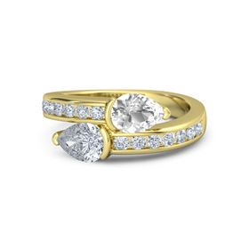 Pear Diamond 14K Yellow Gold Ring with Rock Crystal and Diamond