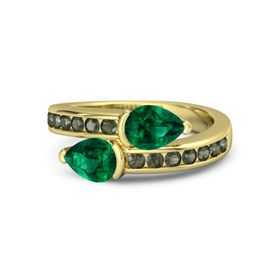 Pear Emerald 14K Yellow Gold Ring with Emerald and Green Tourmaline