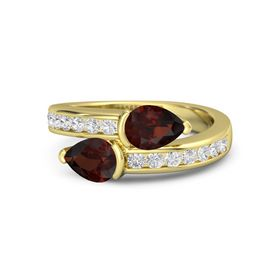 Pear Red Garnet 14K Yellow Gold Ring with Red Garnet & White Sapphire