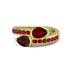 Pear Red Garnet 14K Yellow Gold Ring with Ruby
