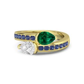 Pear White Sapphire 14K Yellow Gold Ring with Emerald and Blue Sapphire