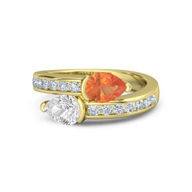 Pear White Sapphire 14K Yellow Gold Ring with Fire Opal and Diamond