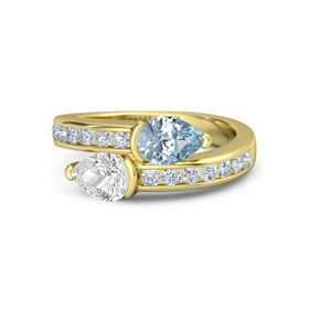 Pear White Sapphire 14K Yellow Gold Ring with Aquamarine and Diamond