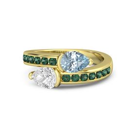 Pear White Sapphire 14K Yellow Gold Ring with Aquamarine and Alexandrite