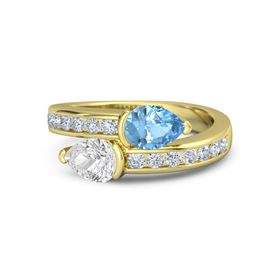 Pear White Sapphire 14K Yellow Gold Ring with Blue Topaz and Diamond