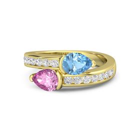 Pear Pink Sapphire 14K Yellow Gold Ring with Blue Topaz and White Sapphire