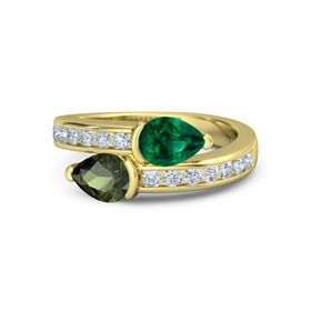 Pear Green Tourmaline 14K Yellow Gold Ring with Emerald and Diamond